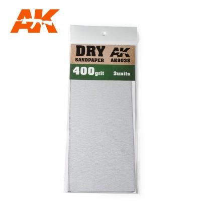 DRY SANDPAPER GRANO 400 (3 UNIDS) AK 9038