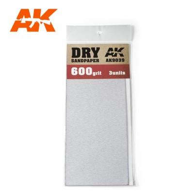 DRY SANDPAPER GRANO 600 (3 UNIDS) AK 9039