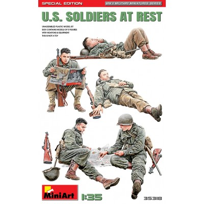 SOLDADOS U.S. ARMY DESCANSADO & ACCESORIOS -Escala 1/35- MiniArt Models 35318