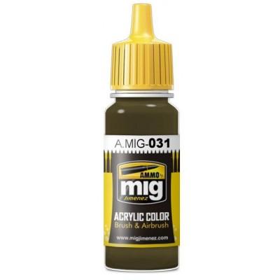 PINTURA ACRLICA VERDE KHAKI ESPAÑOL (17 ml) - Ammo Mig 0031