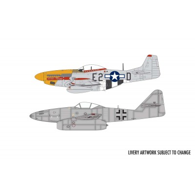 DOGFIGHT DOUBLE MUSTANG & Me-262 (Pegamento & Pinturas) -Escala 1/72- Airfix A50183
