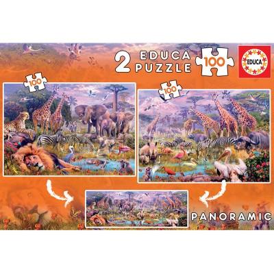 PUZZLE 2 X 100 ANIMALES SALVAJE - EDUCA 18606