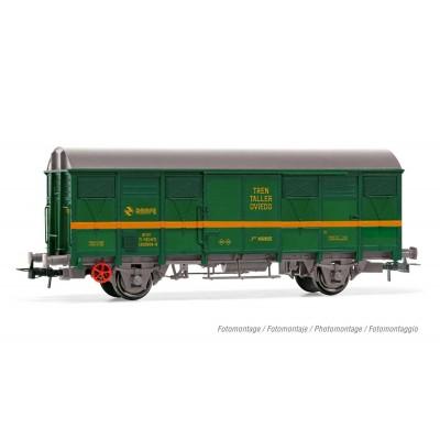 """VAGON CERRADO 2 EJES Tipo J2 (Verde / Amarillo) """"Tren Taller Oviedo"""" Ep. IV -Escala 1/87 - H0- Electrotren HE6018"""