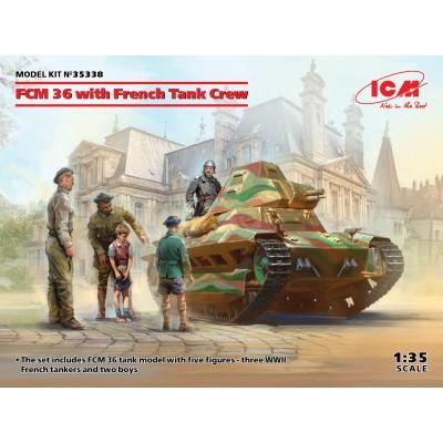 CARRO FRANCES FCM36 CON TRIPULACION - ESCALA 1/35 - ICM 35338