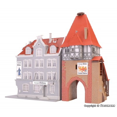 EDIFICIO HOTEL Y TORRE MEDIEVAL - ESCALA H0 - - (16.4 x 15.5 x 17.5 cms)(10.2 x 8.5 x 20.8 cms) - KIBRI 12507