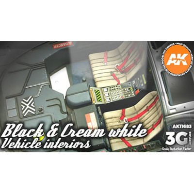 BLACK & CREAM WHITE VEHICLE INTERIORS - AK Interactive 11683