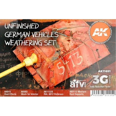UNFINISHED GERMAN VEHICLES WEATHERING SET - AK Interactive 11651