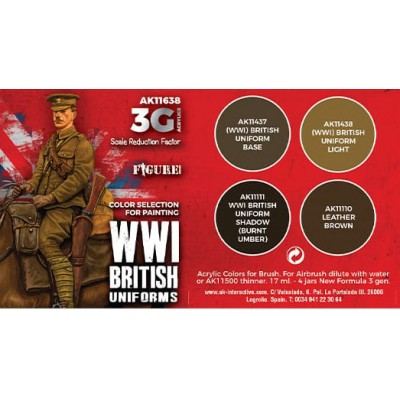 SET WWI BRITISH UNIFORMS COLORS - AK Interactive 11638