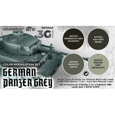 SET MODULATION GERMAN PANZER GREY COLORS - AK Interactive 11642