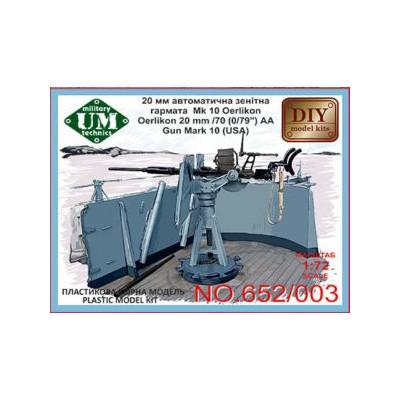 CAÑON AA OERLIKON (20 mm/70) MK-10 (USA) -Escala 1/72- UM Military Technics 652/003
