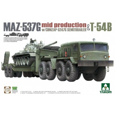 CAMION MAZ-537G (Gondola GHMZAP-5247G) & CARRO DE COMBATE T-54 B-Escala 1/72- TAKOM 5013