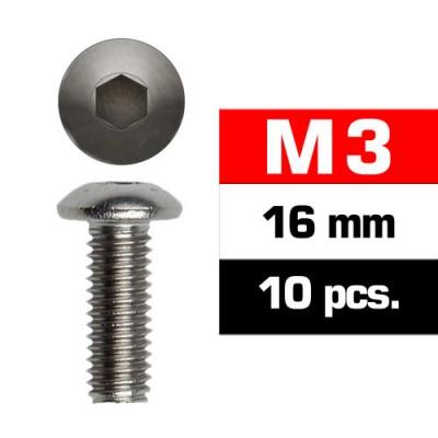 TORNILLO CABEZA BOTON ALLEN M3x16mm (10 unids) ULTIMATE RACING 162316