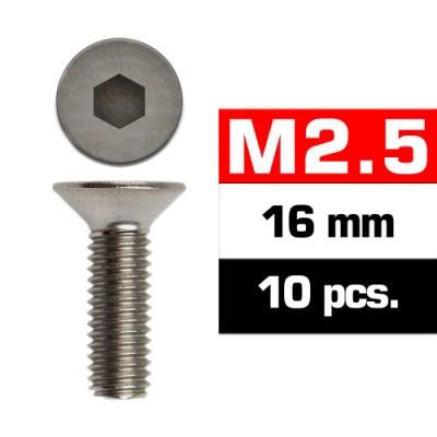 TORNILLO CABEZA AVELLANADA M2.5x16mm (10 unids) ULTIMATE RACING 1612516