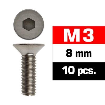 TORNILLO CABEZA AVELLANADA M3x8mm (10 unids) ULTIMATE RACING 161308