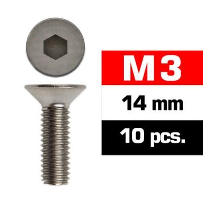 TORNILLO CABEZA AVELLANADA M3x14mm (10 unids) ULTIMATE RACING 161314
