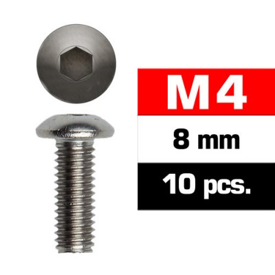 TORNILLO CABEZA BOTON ALLEN M4x8mm (10 unids) ULTIMATE RACING 162408