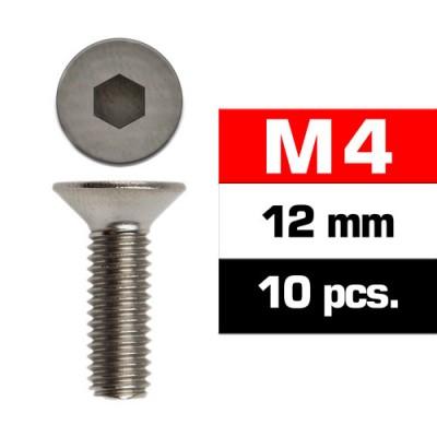 TORNILLO CABEZA AVELLANADA M4x12mm (10 unids) - ULTIMATE RACING 161412