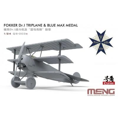 FOKKER Dr.I TRIPLANE & MEDALLA BLUE MAX -Escala 1/24- MENG MODEL QS-003S