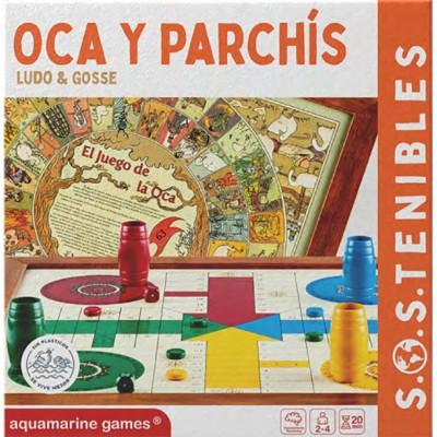 JUEGO OCA PARCHIS CON CUBILETES Y FICHAS