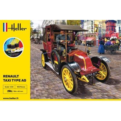 """RENAULT Type AG """"TAXI"""" (Pegamento & pinturas) -Escala 1/24- Heller 35705"""