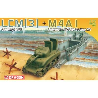 LANCHA DE DESEMBARCO LCM (3) & CARRO DE COMBATE M-4 A1 SHERMAN -Escala 1/72- Dragon Models 7516
