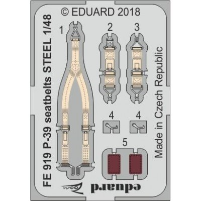 CINTURONES DE SEGURIDAD P-39 -Escala 1/48- Eduard FE919