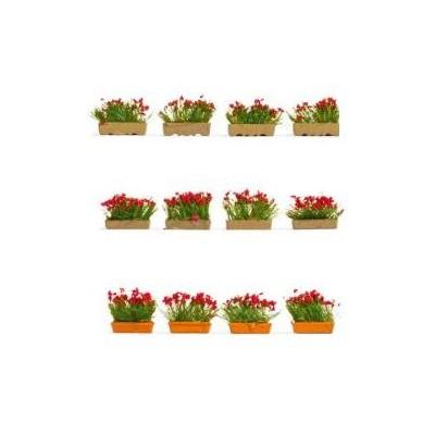 SET MACETEROS FLORES ROJAS (12 unidades) -Escala 1/87 - h0- Noch 14010