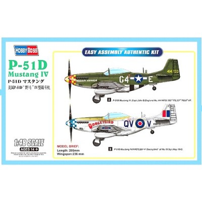 NORTH AMERICAN P-51 D MUSTANG / MUSTANG MK-IV -1/48- Hobby Boss 85802