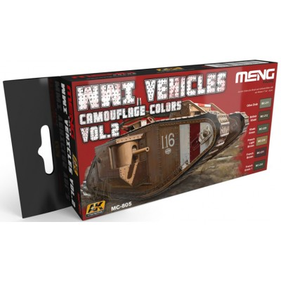 SET COLORES VEHICULOS 1ª Guerra Mundial Vol.2 (6 botes) MENG MC805