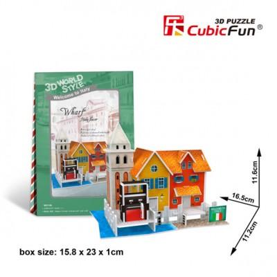 PUZZLE 3D ITALY FLAVOR MUELLE (16,5 X 11.2 X 11.6 CMS) 19 PZAS CUBIC FUN W3114